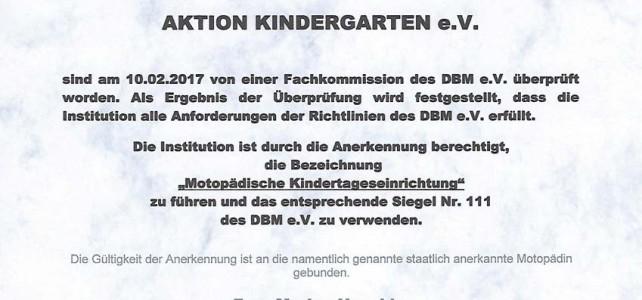 """Wir sind zertifizierte """"Motopädische Kindertageseinrichtung"""" !"""