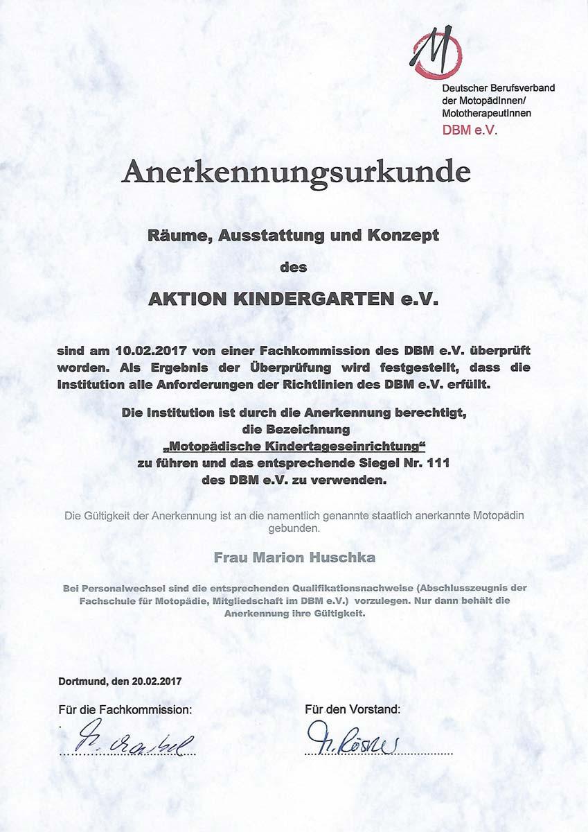 Zertifizierung-Urkunde